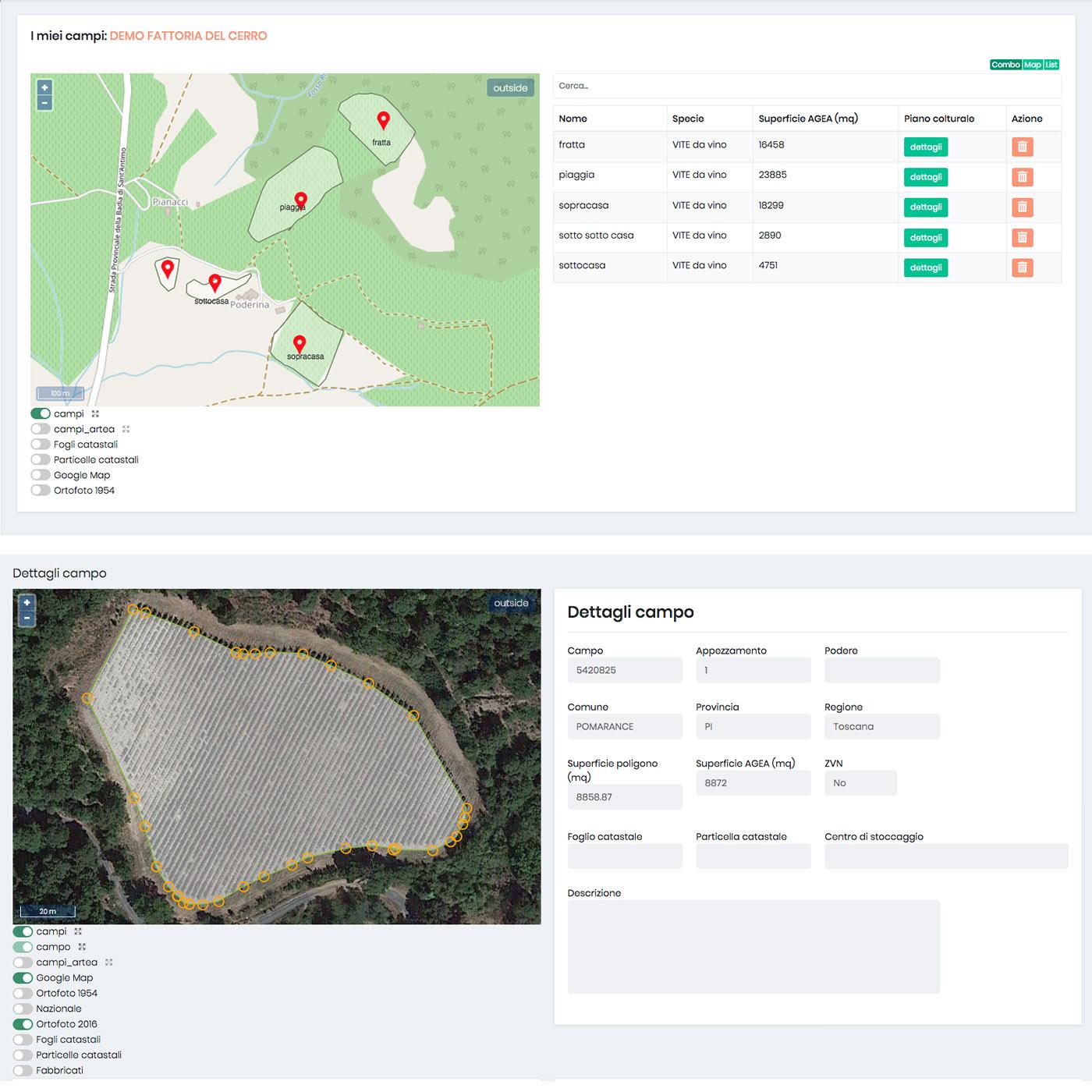 gestione aziende agricole con app per monitoraggio campi